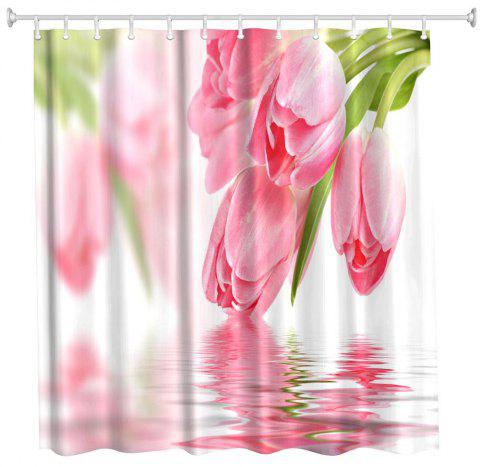 Tulip in Water Water-Proof Polyester 3D Printing Bathroom Shower Curtain - multicolor A W71 INCH * L71 INCH