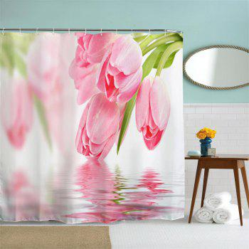 Tulip in Water Water-Proof Polyester 3D Printing Bathroom Shower Curtain - multicolor A W71 INCH * L79 INCH