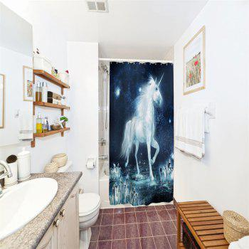 The Unicorn on The Ice Water-Proof Polyester 3D Printing Bathroom Shower Curtain - multicolor A W71 INCH * L71 INCH