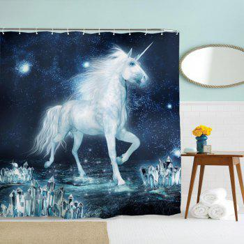 The Unicorn on The Ice Water-Proof Polyester 3D Printing Bathroom Shower Curtain - multicolor A W71 INCH * L79 INCH