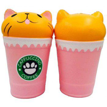 Jumbo Squishy Slow Rising Stress Relief Toy Cartoon Cat Head Coffee Cup - LIGHT PINK