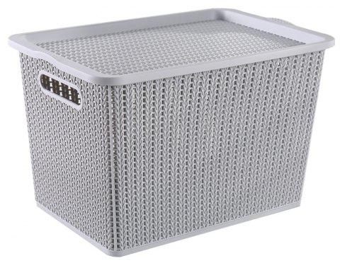 Household Rattan Plastic Storage Basket - LIGHT GRAY SMALL