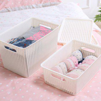 Household Rattan Plastic Storage Basket - WHITE SMALL