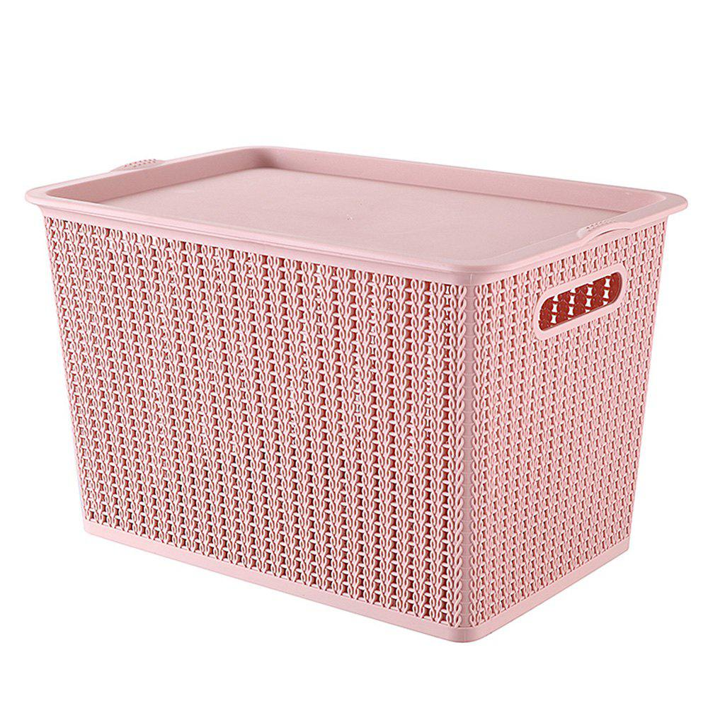 Household Rattan Plastic Storage Basket - LIGHT PINK MEDIUM