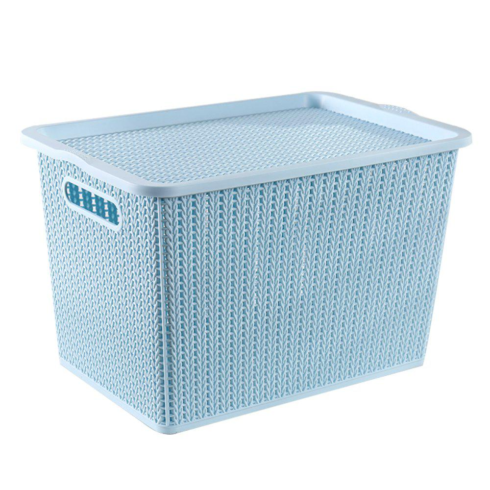 Household Rattan Plastic Storage Basket - LIGHT BLUE LARGE