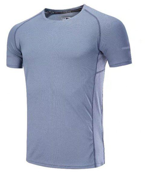 Quick Dry Men Sleeve Round Collar Large Code Loose Fitness Sport T-Shirt - GRAY 3XL
