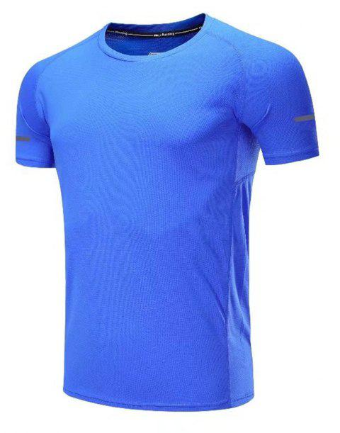 Quick Dry Men Sleeve Round Collar Large Code Loose Fitness Sport T-Shirt - BLUE 2XL