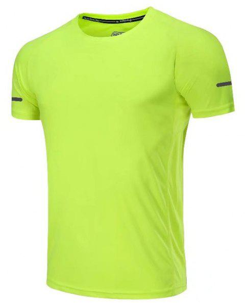 Quick Dry Men Sleeve Round Collar Large Code Loose Fitness Sport T-Shirt - GREEN XL