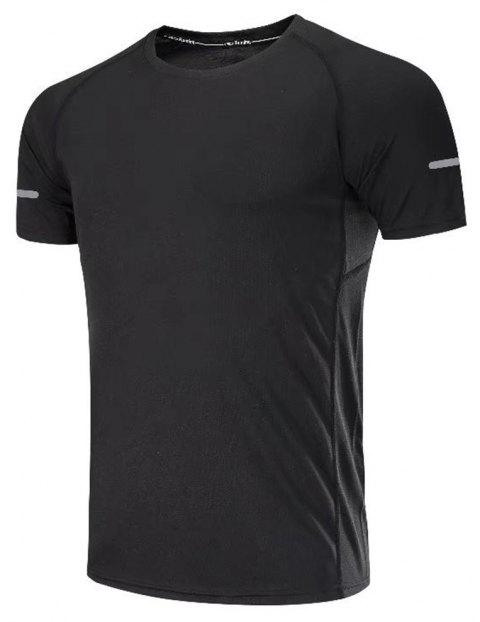 Quick Dry Men Sleeve Round Collar Large Code Loose Fitness Sport T-Shirt - BLACK M