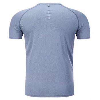 Quick Dry Men Sleeve Round Collar Large Code Loose Fitness Sport T-Shirt - GRAY 2XL