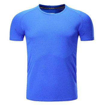 Quick Dry Men Sleeve Round Collar Large Code Loose Fitness Sport T-Shirt - BLUE M
