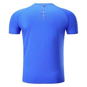 Quick Dry Men Sleeve Round Collar Large Code Loose Fitness Sport T-Shirt - BLUE 3XL