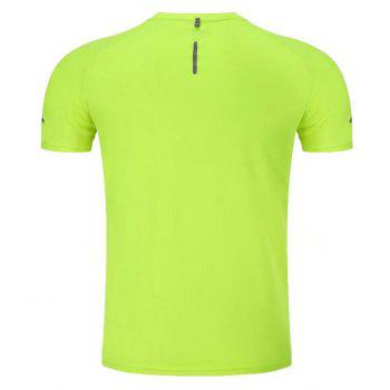 Quick Dry Men Sleeve Round Collar Large Code Loose Fitness Sport T-Shirt - GREEN 2XL