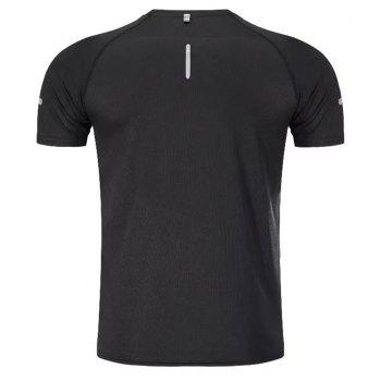 Quick Dry Men Sleeve Round Collar Large Code Loose Fitness Sport T-Shirt - BLACK XL