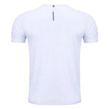 Quick Dry Men Sleeve Round Collar Large Code Loose Fitness Sport T-Shirt - WHITE L