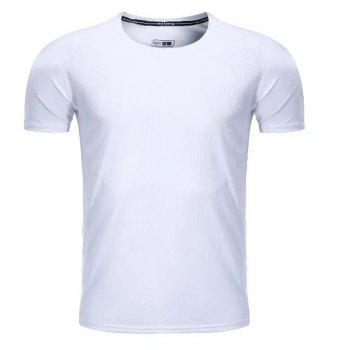 Quick Dry Men Sleeve Round Collar Large Code Loose Fitness Sport T-Shirt - WHITE 4XL