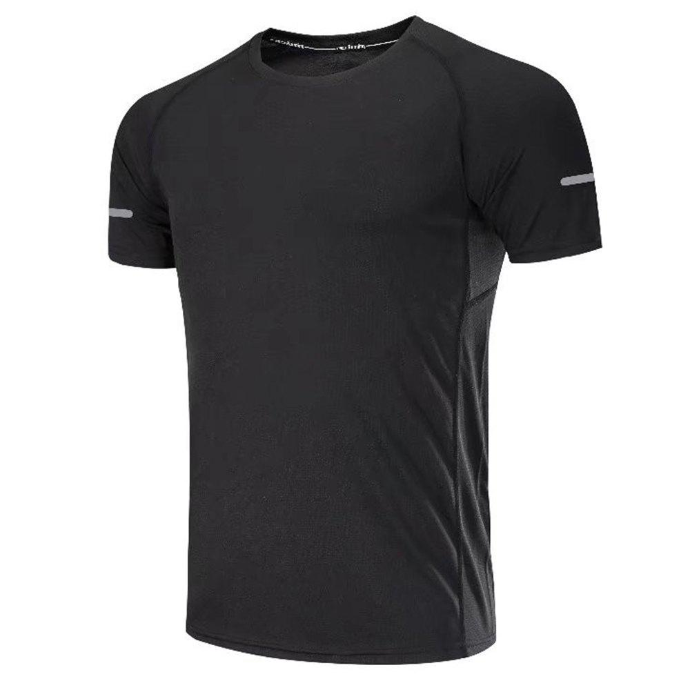Quick Dry Men Sleeve Round Collar Large Code Loose Fitness Sport T-Shirt - BLACK 3XL