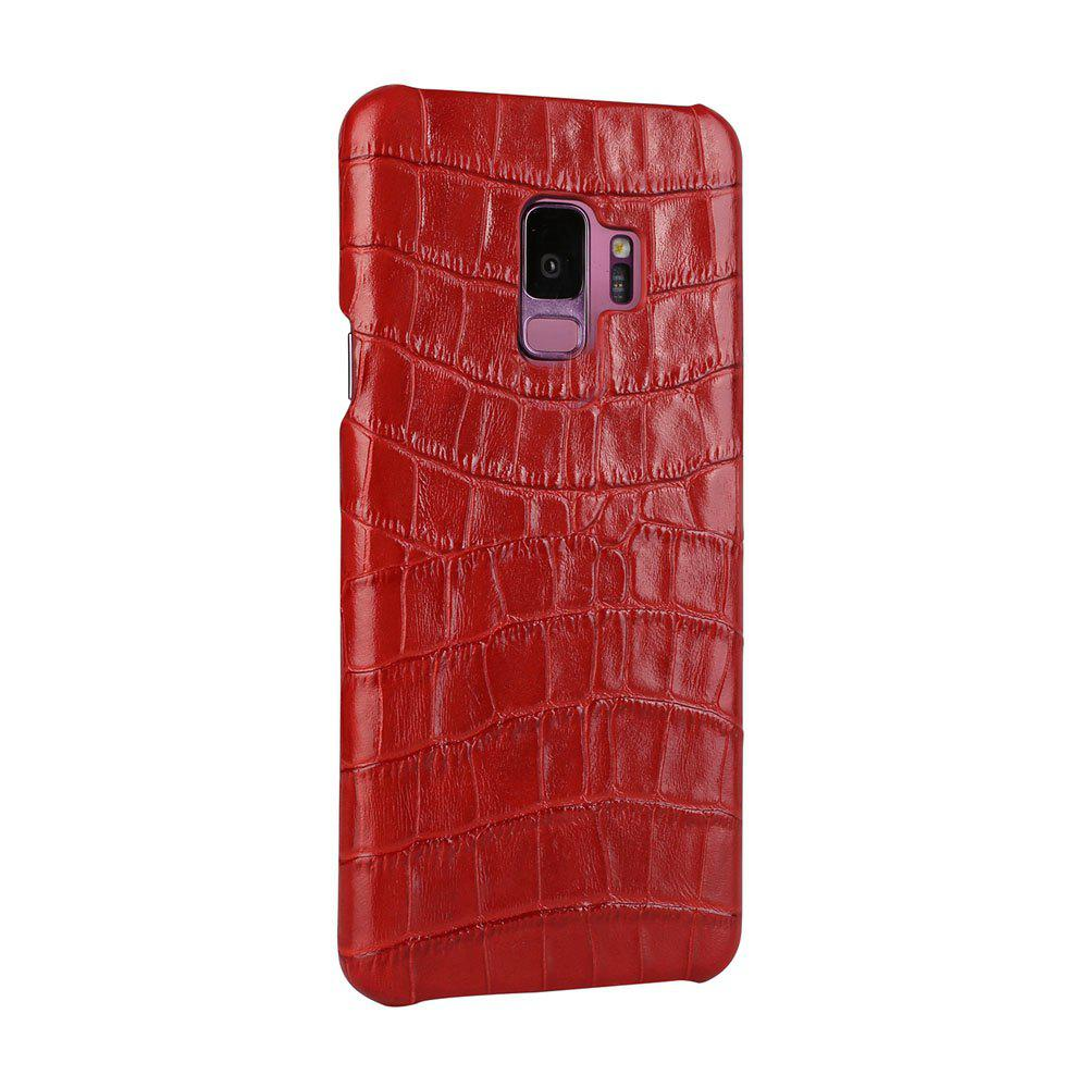 For Samsung Galaxy S9 Case  3D Surface Premium Genuine Leather Back Cover - RED
