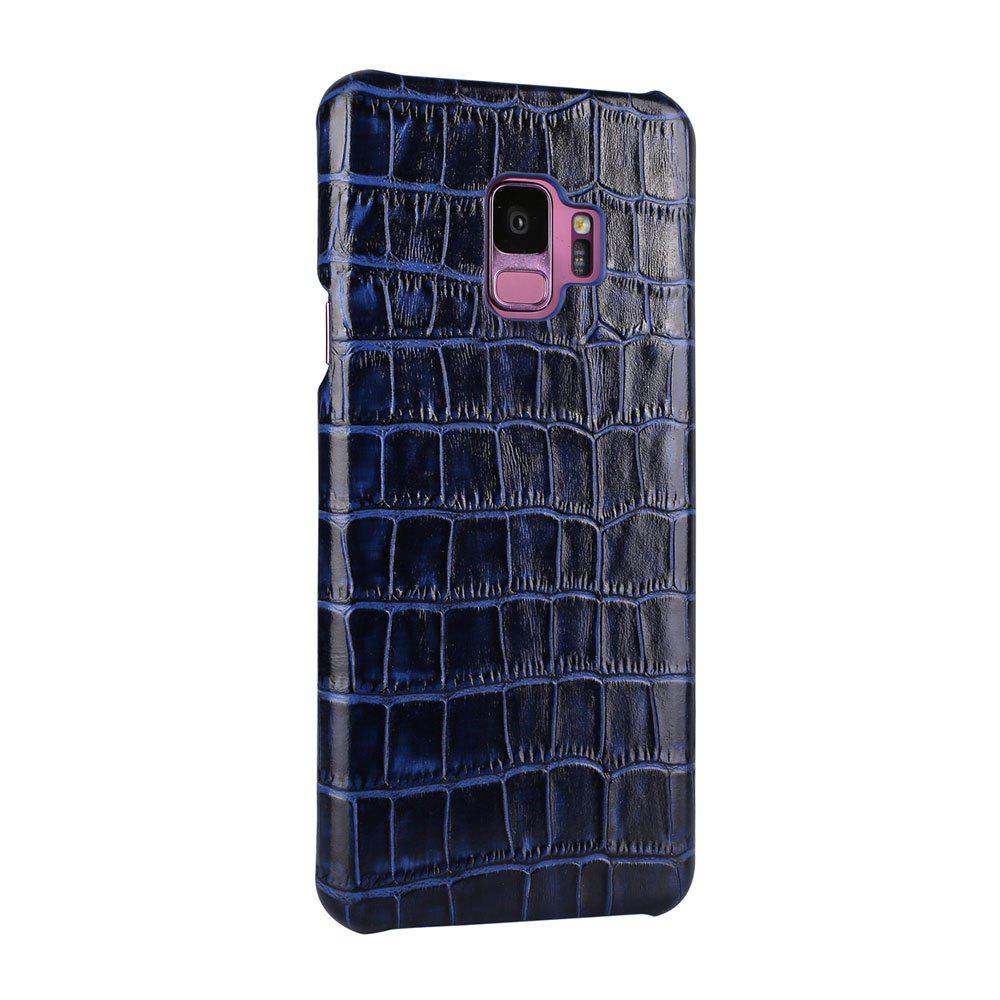 For Samsung Galaxy S9 Case  3D Surface Premium Genuine Leather Back Cover - BLUE