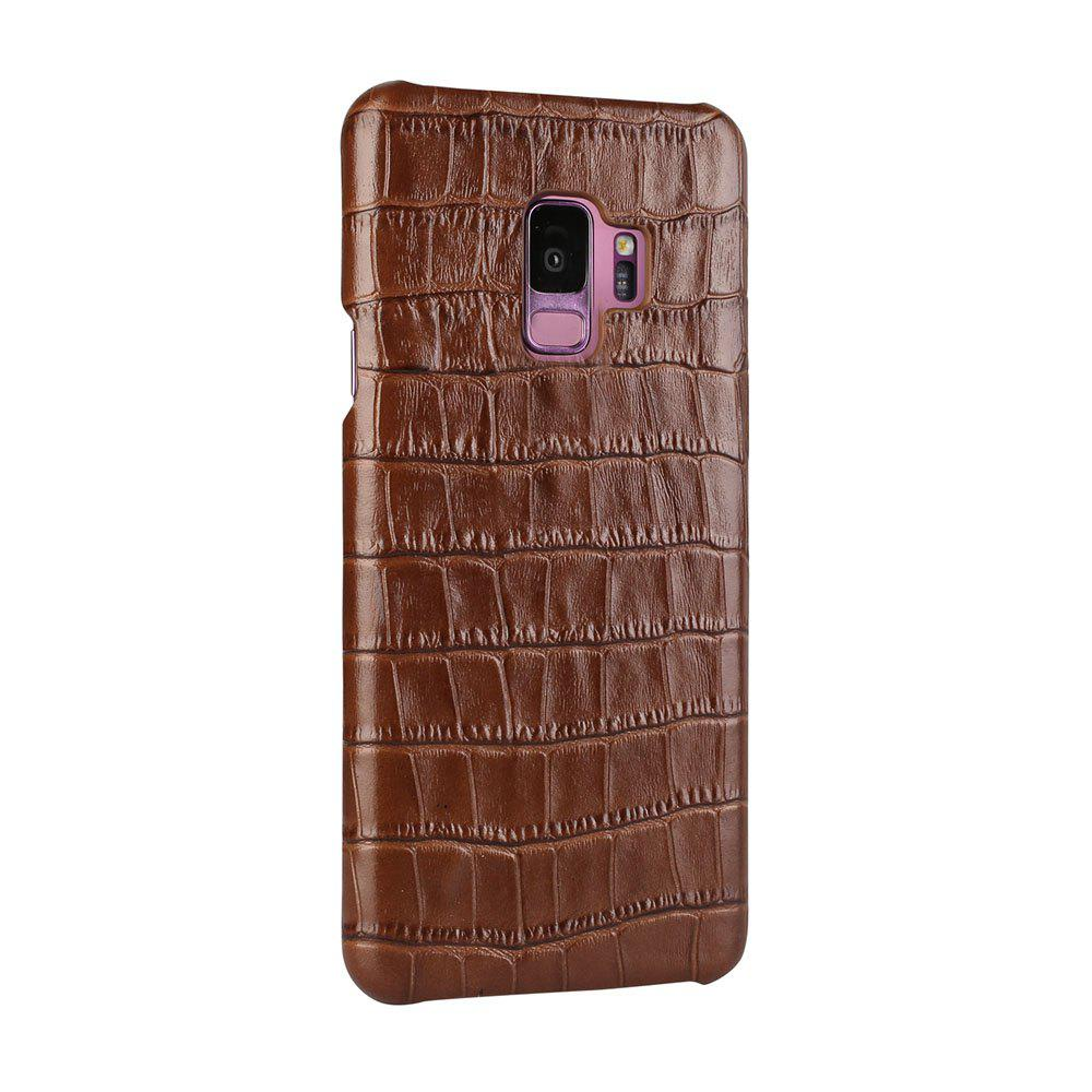For Samsung Galaxy S9 Case  3D Surface Premium Genuine Leather Back Cover - BROWN