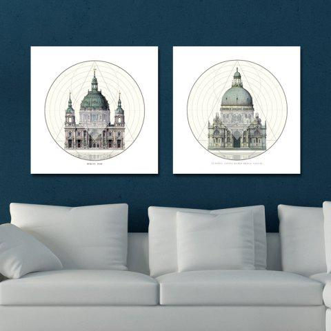 41XDZS - 1-2 2PCS European Architecture Castle Print Art - multicolor 30 X 30CM X 2