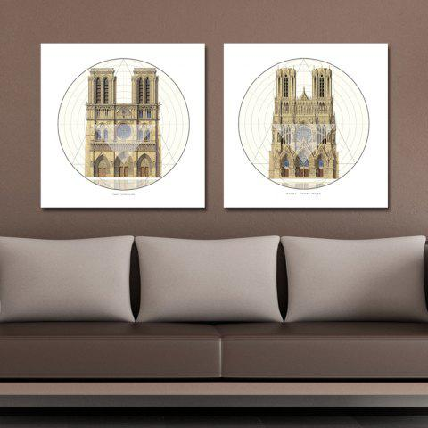 41XDZS - 9-10 2PCS European Architecture Castle Print Art - multicolor 30 X 30CM X 2