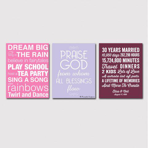 Modern Living Room Sofa Background Contracted English Word Print 3PCS - multicolor 16 X 24 INCH (40CM X 60CM)