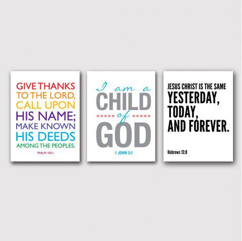 Modern Creative Living Room Sofa Background Simple English Word Print 3PCS - multicolor 12 X 20 INCH (30CM X 50CM)