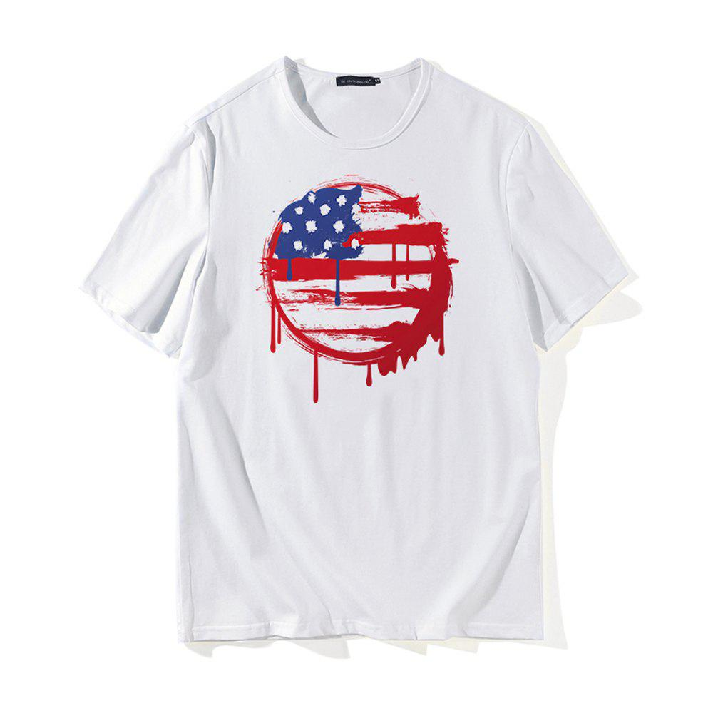 Ball Pattern 3D Printing T-shirt - WHITE L
