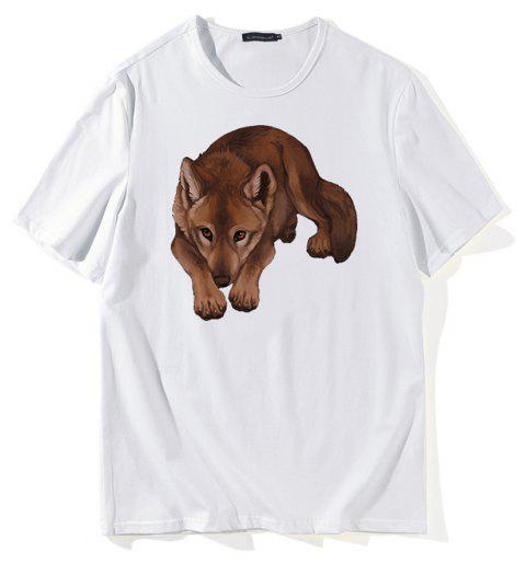 Creative Dog 3D Print T-shirt - WHITE XL