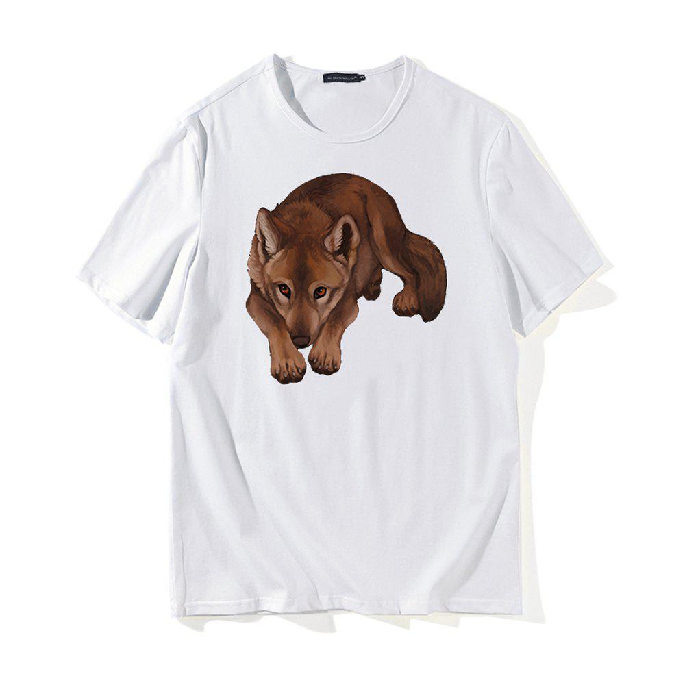 Creative Dog 3D Print T-shirt - WHITE L