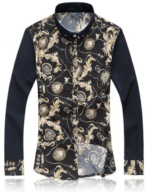 2018 New Large Size Trend  Men's Casual Long-sleeved Floral Shirt - BEIGE XL