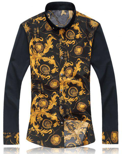 2018 New Large Size Trend  Men's Casual Long-sleeved Floral Shirt - GOLDENROD M