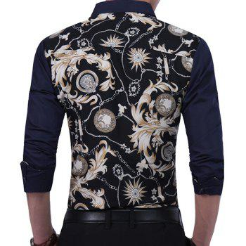 2018 New Large Size Trend Buckle Men's Casual Long-sleeved Floral Shirt - BEIGE M