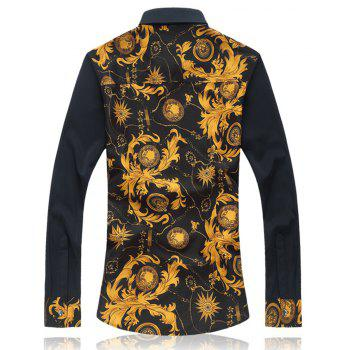 2018 New Large Size Trend Buckle Men's Casual Long-sleeved Floral Shirt - GOLDENROD XL