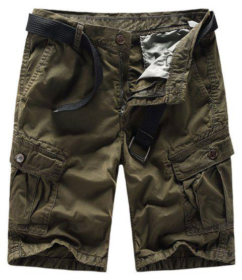 Men Shorts Casual Cozy Solid Color Cropped Cargo Pants Without Belt - BROWN 4XL