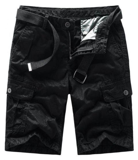 Men Shorts Casual Cozy Solid Color Cropped Cargo Pants Without Belt - BLACK L
