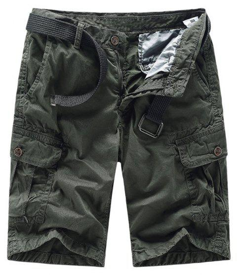 Men Shorts Casual Cozy Solid Color Cropped Cargo Pants Without Belt - DARK SLATE GREY 2XL