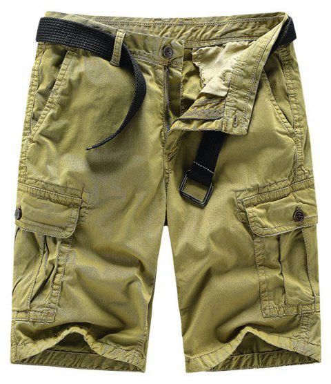 Men Shorts Casual Cozy Solid Color Cropped Cargo Pants Without Belt - HARVEST YELLOW M