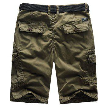 Men Shorts Casual Cozy Solid Color Cropped Cargo Pants Without Belt - BROWN M