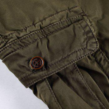 Men Shorts Casual Cozy Solid Color Cropped Cargo Pants Without Belt - BROWN L