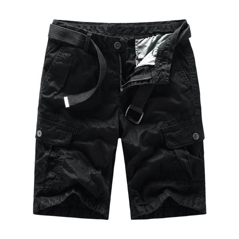 Men Shorts Casual Cozy Solid Color Cropped Cargo Pants Without Belt - BLACK 4XL