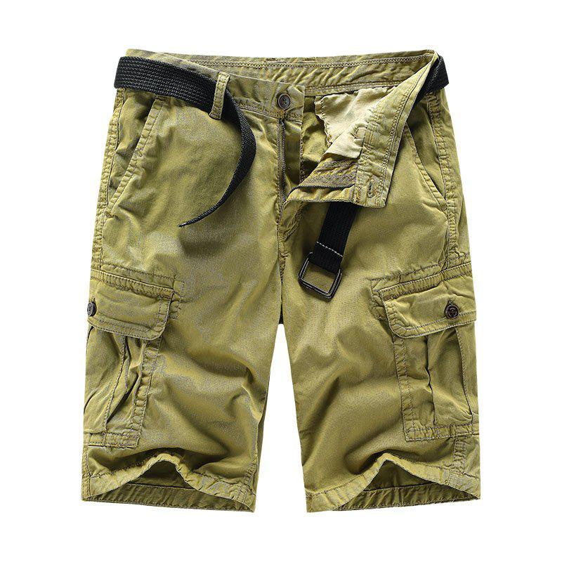 Men Shorts Casual Cozy Solid Color Cropped Cargo Pants Without Belt - HARVEST YELLOW L