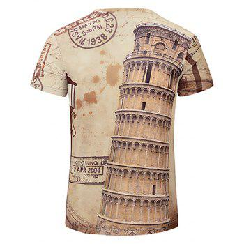 Summer New Fashion Round Floor 3D Printing Men'S V-Collar T-shirt - BEIGE L