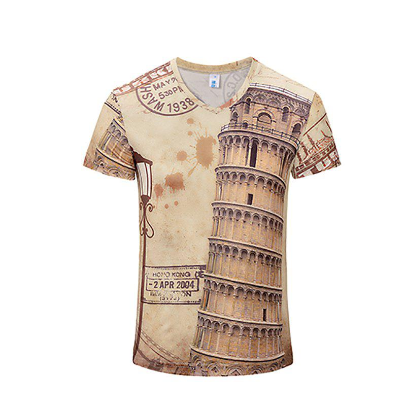 Summer New Fashion Round Floor 3D Printing Men'S V-Collar T-shirt - BEIGE M