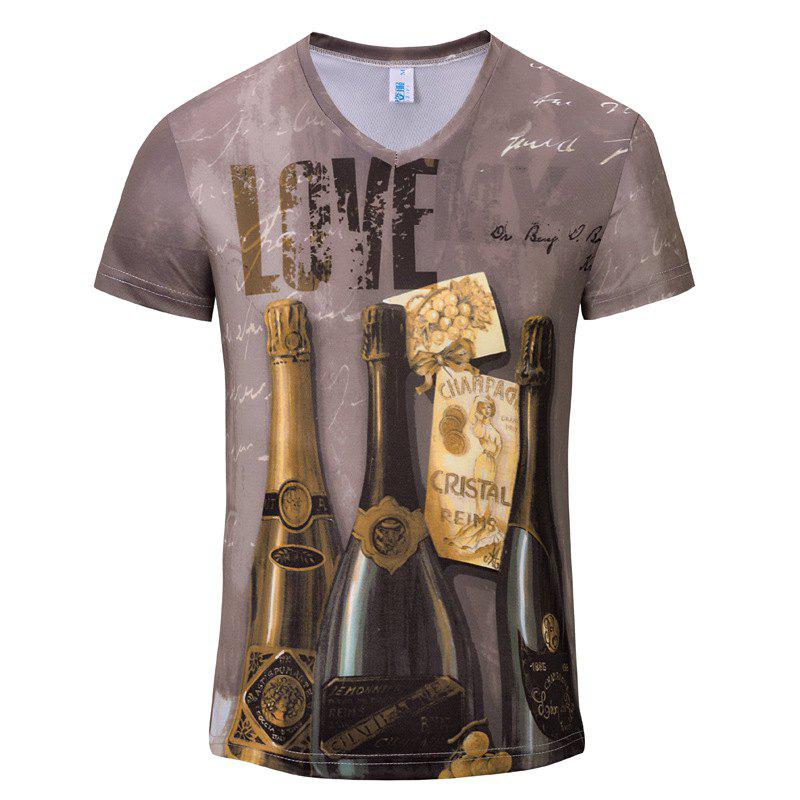 New Casual Fashion Wine Bottle 3D Print Men's V-Collar T-shirt - PUCE XL