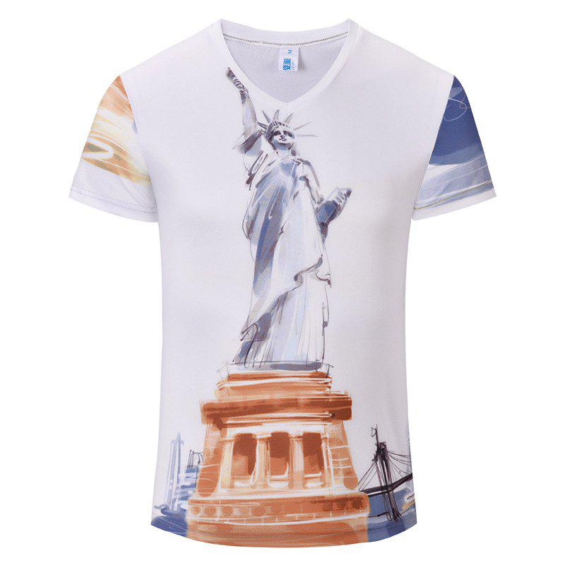 Casual Fashion New Statue 3D Print Men's V-Collar T-shirt - WHITE XL