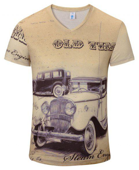 New Casual Fashion Classic Car 3D Print Men's V-Collar T-shirt - BEIGE S