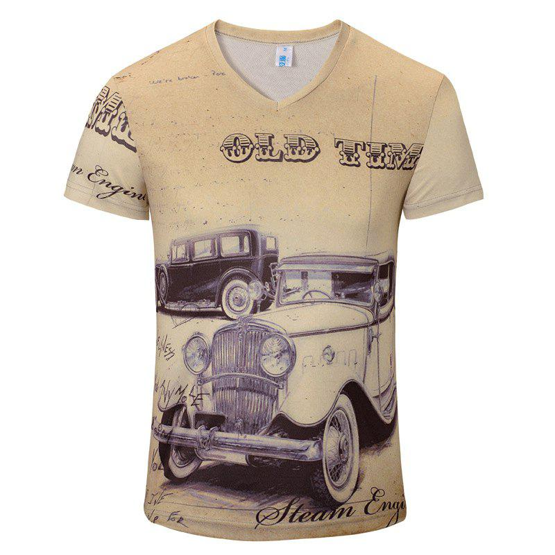 New Casual Fashion Classic Car 3D Print Men's V-Collar T-shirt - BEIGE M