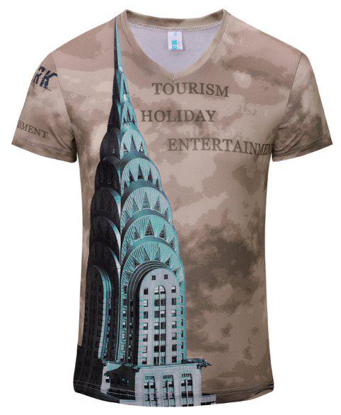 New Style Leisure Fashion High-Rise Tower 3D Print Men'sV-Collar T-shirt - CAMEL BROWN S